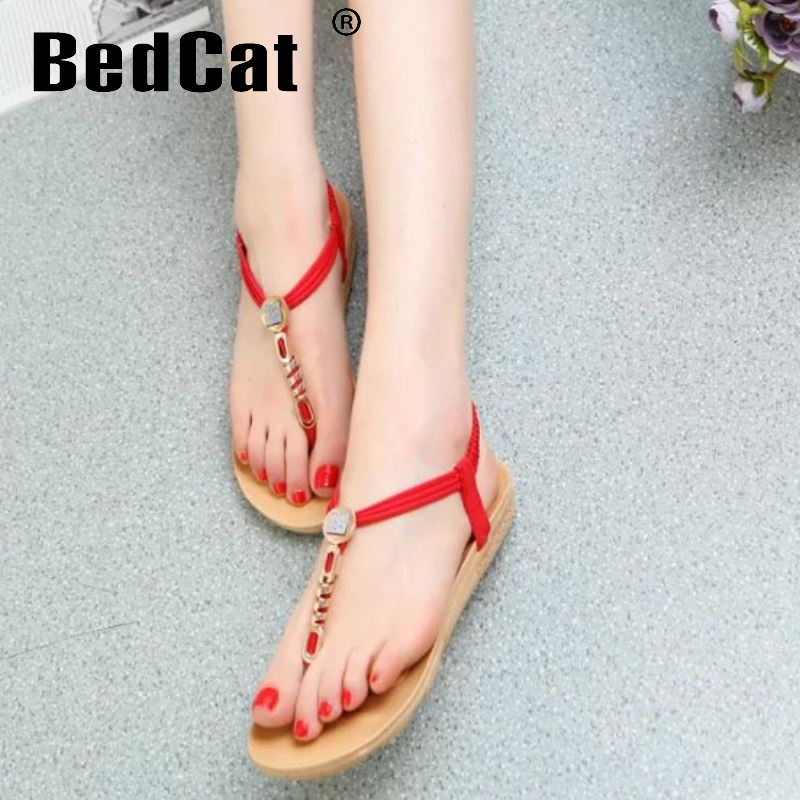 women bohemia beading t-strap woman flat sandals brand quality fashion sexy ladies pinch toe footwear size 36-40 WC0062<br><br>Aliexpress