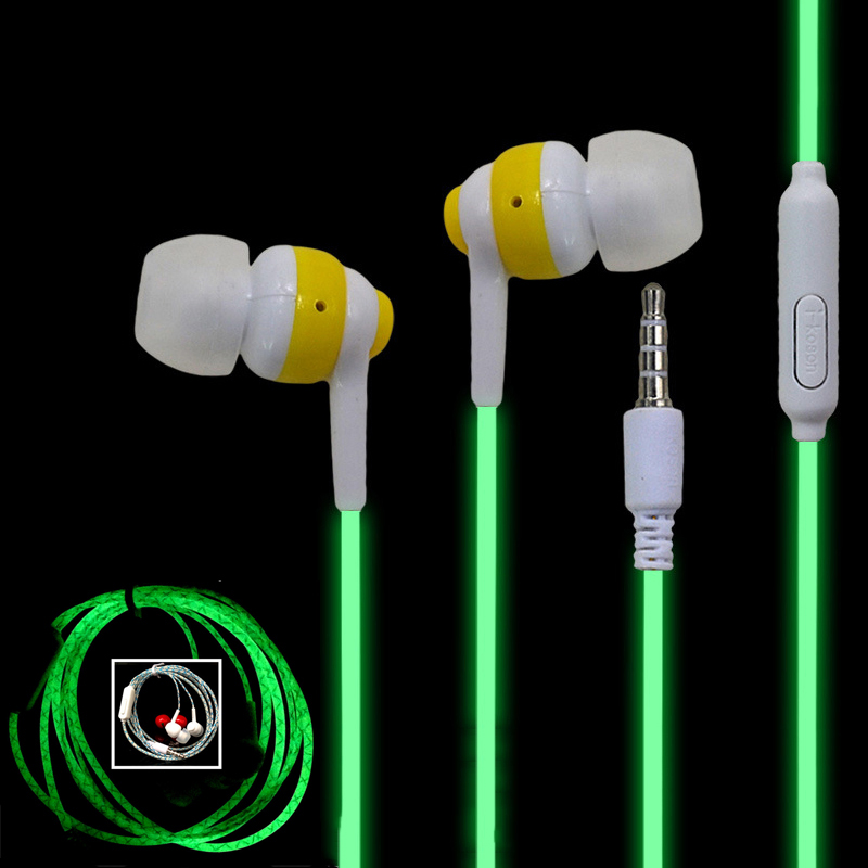 Hot Glowing Headphones For Mobile Phone Funny Luminous Earphone With Microphone Wired Flashing Headset For Xiaomi