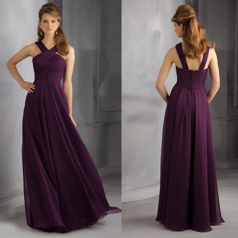 2014 Loveable V Neck Sleeveless Pleats Details Chiffon Plum Bridesmaid Dresses Long Free