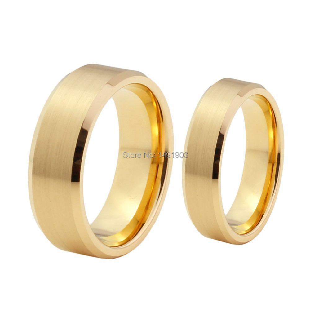 shiny gold tungsten ring brushed tungsten ring gold