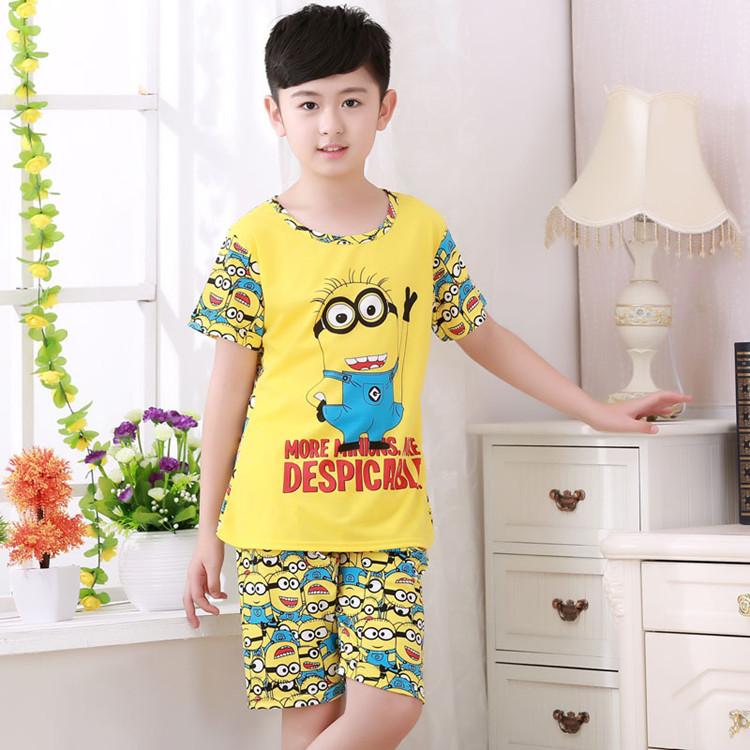 baby minion clothes summer cartoon pajama child for boy girls pyjamas unsex clothing set children garment kids sleepwear cheap(China (Mainland))