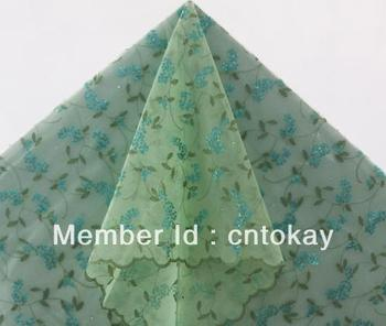 Free shipping by DHL!New African organza lace inlayed paillettes and stones,5 yards/piece, light green organza lace  TKL3755