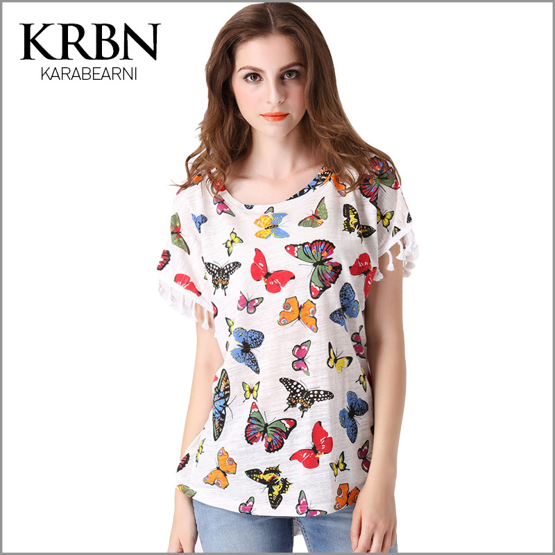 2015 women summer T-shirt women tops butterfly pattern print plus size short sleeve casual 100% cotton t shirt graphic tops T-04(China (Mainland))