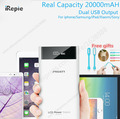 Original PISEN 2A 20000mAh Mobile Power Bank 18650 10000 mah Dual USB LCD Display Powerbank Charger
