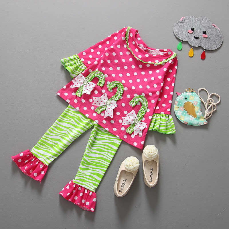 1 Set Retail cute girls clothes Flare design cotton baby girls thanksgiving outfits candy print cheap price LS1039(China (Mainland))