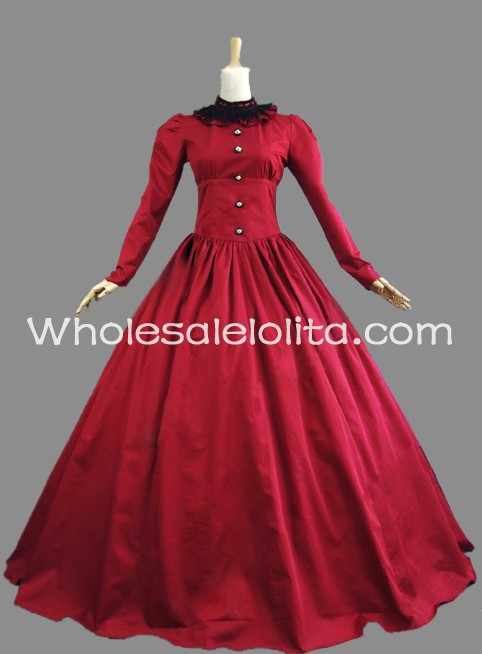 19 me si cle victorienne rouge coton p riode robe for Robe de chambre seculo xix