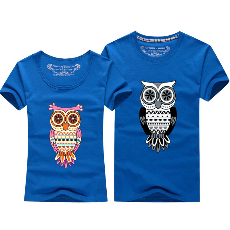 Lovers Cartoon Animal Owl T-shirt For Men And Women Lovers Couple Tshirt Design Tops Tees Short Sleeve O Neck Cotton(China (Mainland))