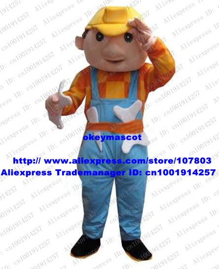Laborious Bob The Builder Mascot Costume Cartoon Character Yellow Safety Helmet Brown Short Hairs Big Nose No.5631 Free Ship(China (Mainland))