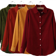 New 2015 Women Corduroy shirt blouse Brand Long Sleeve Women Corduroy Solid Turn- down Collar Shirt(China (Mainland))