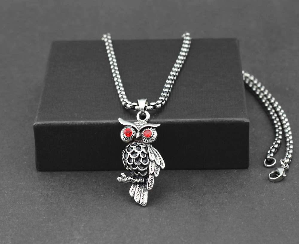 Men's Bling 316L Stainless Steel Owl Bird Pendant Neckalce Charm Chain Biker Fashion Jewelry(China (Mainland))