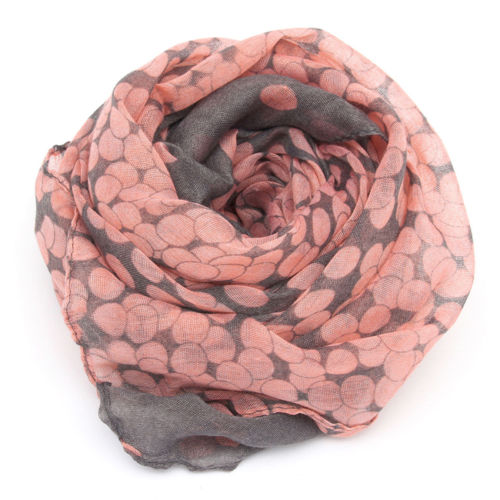 1 HOT Women Lady Winter Autumn Warm Soft Long Pink Grey Dots Voile Neck Large Scarf Wrap Shawl Stole Scarve Pashmina Xmas Gift(China (Mainland))