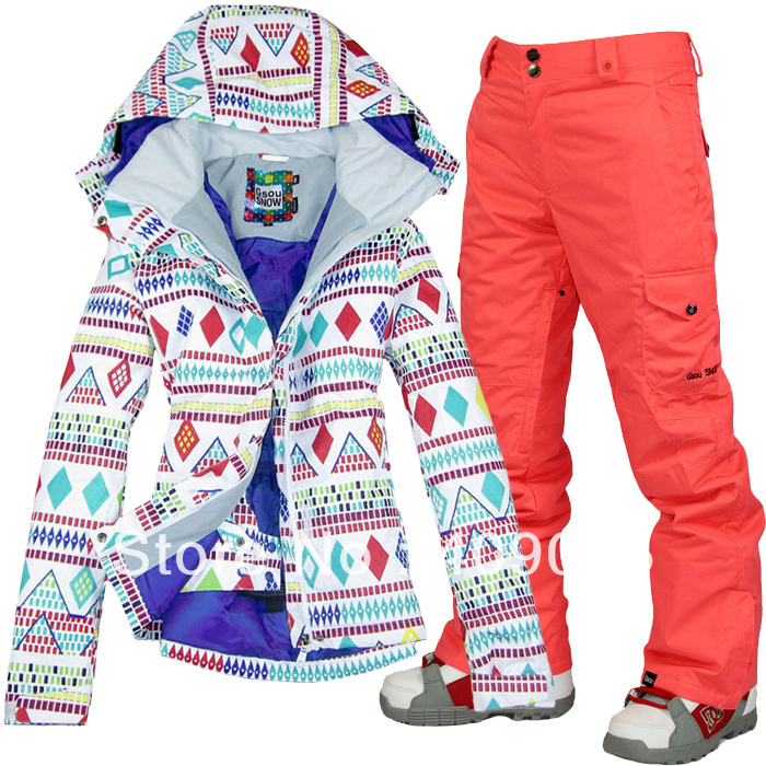 free shipping+Hot Sale Star Product 5 choices-Christmas Woman snowboard/sking suit for single/double panels-XS-L(China (Mainland))