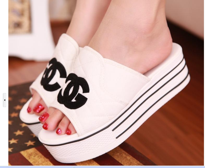 2014 summer New fashion female bright sequins canvas sandals platform women's slippers flats shoes S181 - hou tianming's store