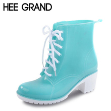 HEE GRAND Rain Boots Women Ankle Boots Platform High Heels Rubber Shoes Woman Lace Up Rainboots Candy Color Size 36-41 XWX4134(China (Mainland))