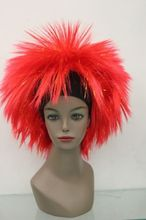 Heat Resistant Cosplay party TJ ***** New Red & gold Afro fluffy Wig E-TG33 - jewe store