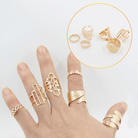 Women's Charming Leaf Shape Hollow Pattern Ring 6pcs Rings Set Jewelry Gift New Arrival
