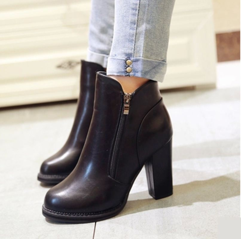 High heels boots autumn winter women shoes thick heel fashion round toe short side zipper martin ankle - JIUJIU Store store