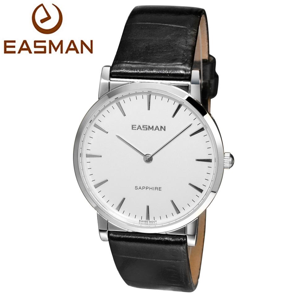 EASMAN Brand Watch Shop Watches of Switzerland Classic Black Genuine Leather Sapphire Glass Dress Wrist Watch Watches for men(China (Mainland))