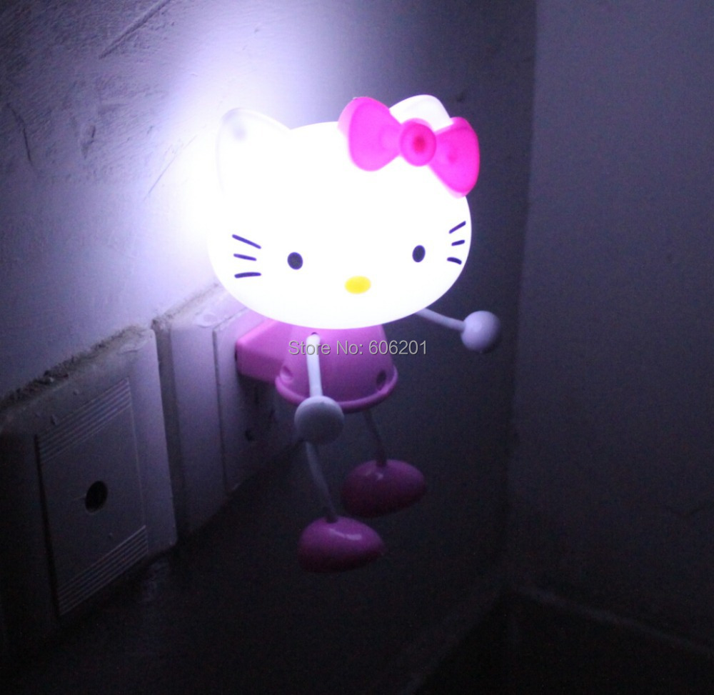 3d cartoon hello kitty led photoreceptor light control for Bedroom night light
