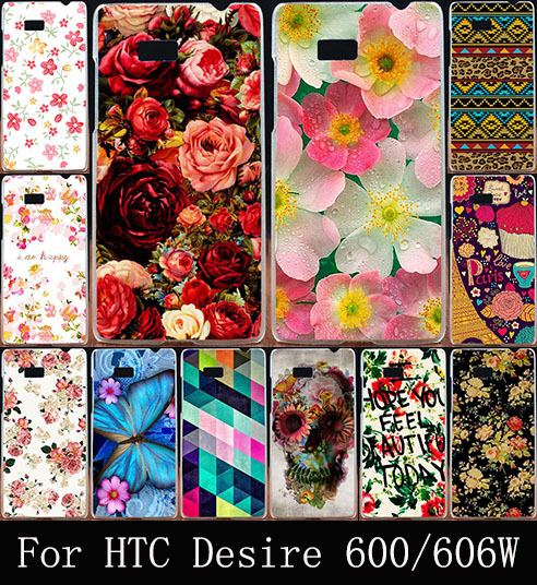 Hot Print Beautiful Rose Flower Hard Plastic Cover Fashion Painted Case For HTC Desire 600 Dual SIM 606W Phone Bag Shell Cases(China (Mainland))