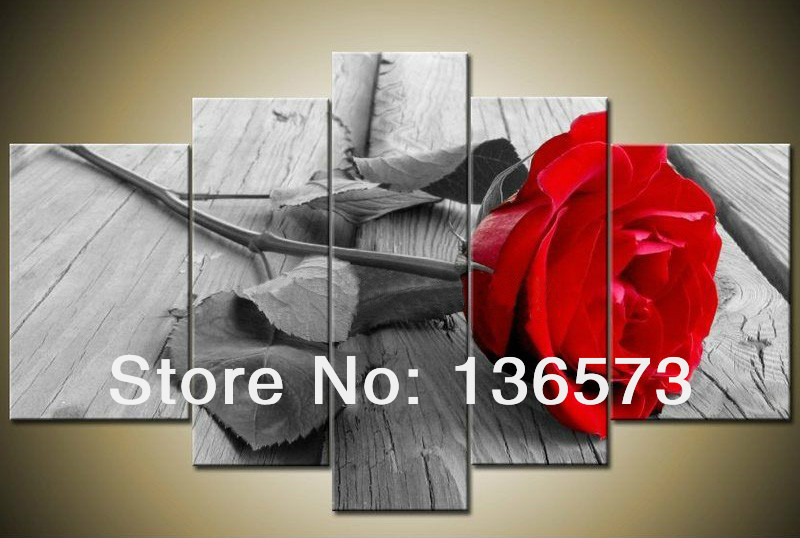 Handmade Large Canvas Art Cheap Modern Abstract Beautiful Grey Red Rose Oil Painting 5 Piece wall pictures Home Decor frame - Happy Love Decoration store