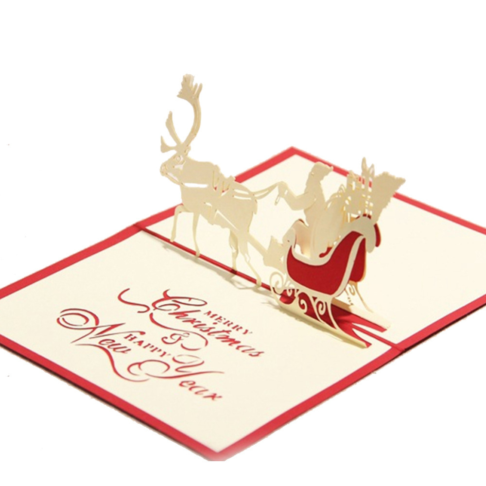 Гаджет  Creative Kirigami & Origami 3D Pop UP Greeting & Gift Christmas Cards with Santa Claus & Carriage Free Shipping None Офисные и Школьные принадлежности