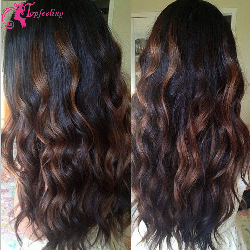 Grace Hair Brazilian Body Wave Full Lace Ombre Human Hair Wigs With Baby Hair Highlight Color Virgin Curly Hair With Frontal Wig