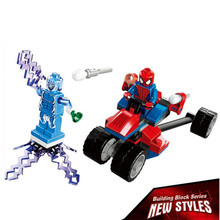 BELA 10237 Super Heroes Avengers SpiderMan Spider Trike Car Electro Building Bricks Blocks Sets Education Toys