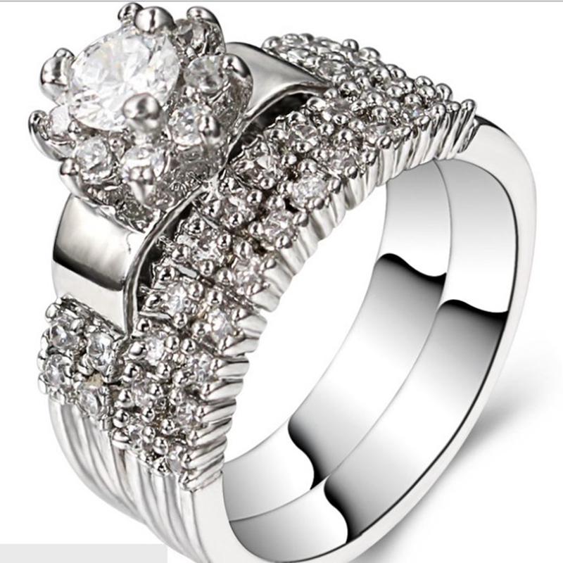 Buy Women Size 5 11 Rhodium 925 Sterling Silver Wedding Enga