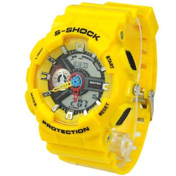 Fashion Multi-functional EL Light 30M Waterproof Dual Time Analog Digital Stop Sports Watch Yello 47400 FREE SHIPPING