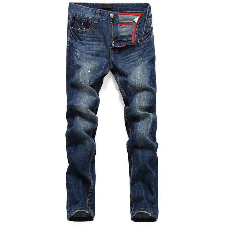2015 famous brand Jeans men DSQ ripped jeans for men 100% cotton blue color casual straight printed men jeans 5002(China (Mainland))