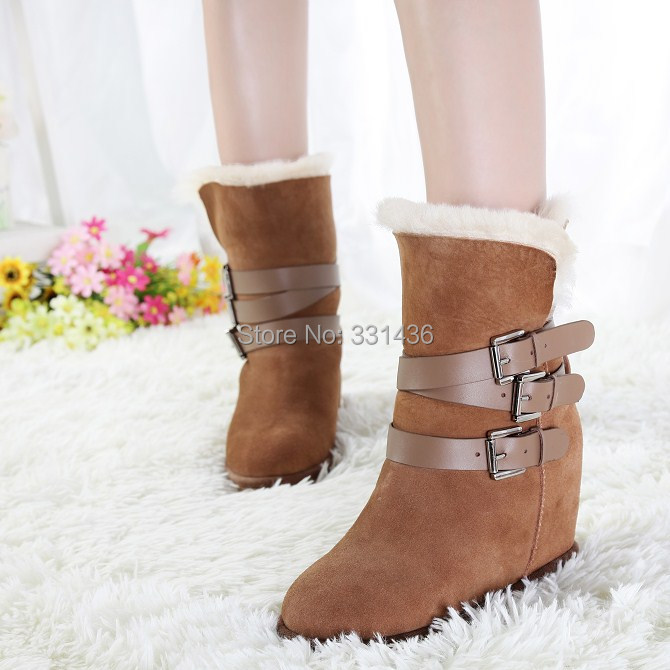 Promotions winter ASH snow boots,Wool fur inside sheepskin wedges fashion Original genuine leather increasing shoes - joanna gong's store