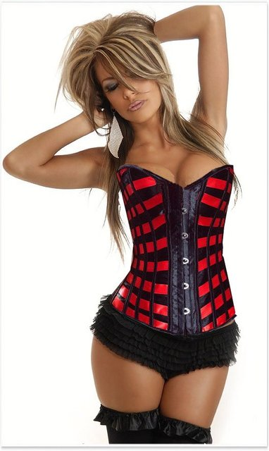 AB888--black base and red decorate Sexy lingerie  Overbust  Corset  bustier +g-string