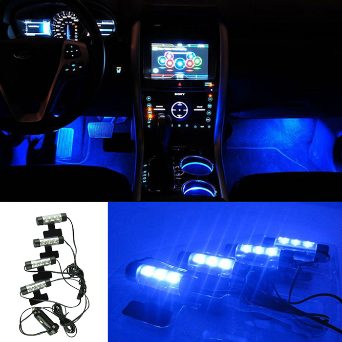 Гаджет   Hot Marketing 4x 3LED Car Charge 12V Glow Interior Decorative 4in1 Atmosphere Blue Light Lamp June23 None Автомобили и Мотоциклы