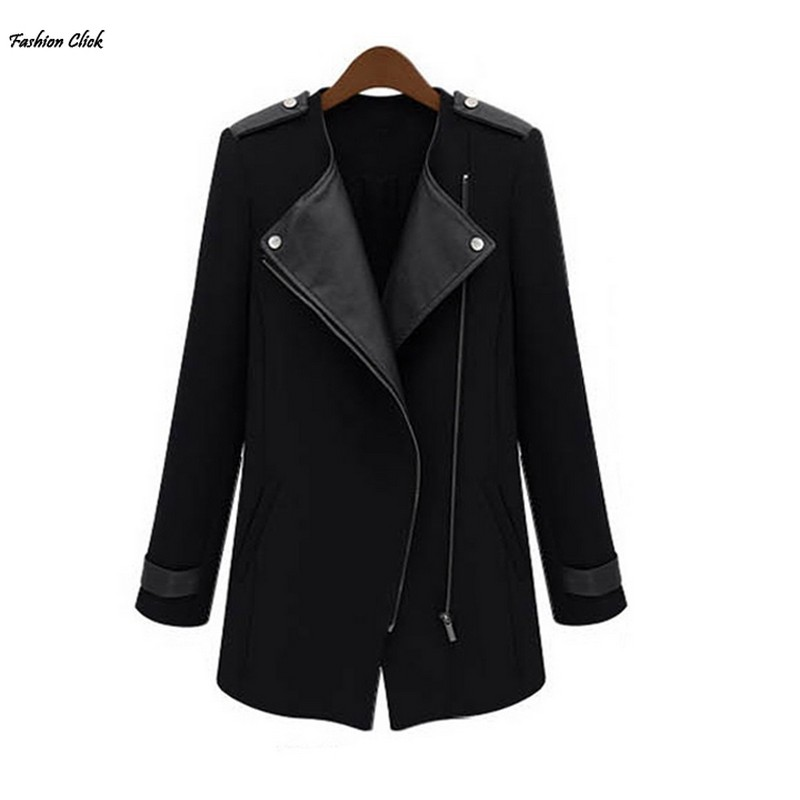 2014 Autumn Winter Hot Fashion Women's Leather Jacket Women Wool Zipper Medium-Long Coats for Ladies Females Plus Size 19666
