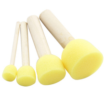 4 Set Yellow Sponge Paint Brush Seal Sponge Brush Wooden Handle Children's Painting Tool Graffiti Kids Diy Doodle Drawing Toys(China (Mainland))