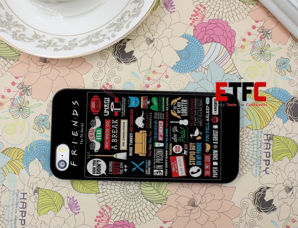 New Fashion FRIENDS FUNNY TV SHOW LOGO NOVELTY (2) Design Hard Black Skin for iPhone 5 5s 5g Case Cover Free Shipping