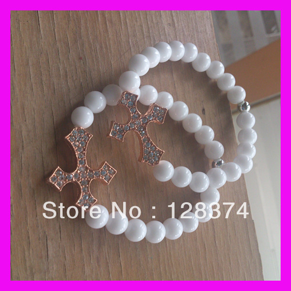 20pcs/lot bead white cross bracelet(China (Mainland))