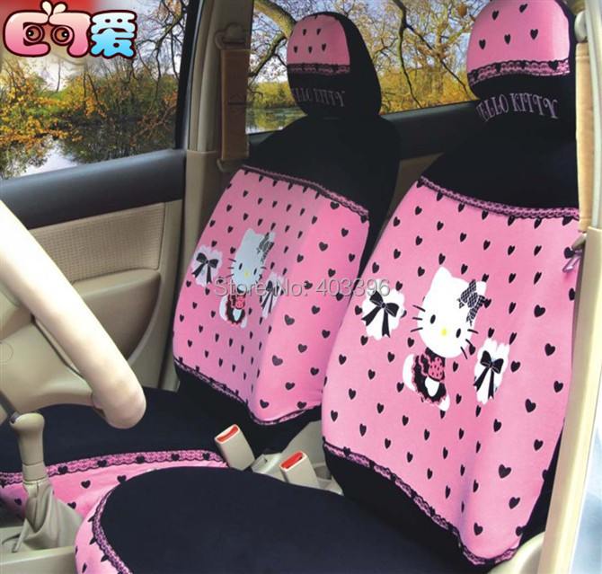 FREE SHIPPING New 10 PCs Pink Hello Kitty UNIVERSAL Car Seat Covers Front Seat Cover for 4 Seasons(China (Mainland))