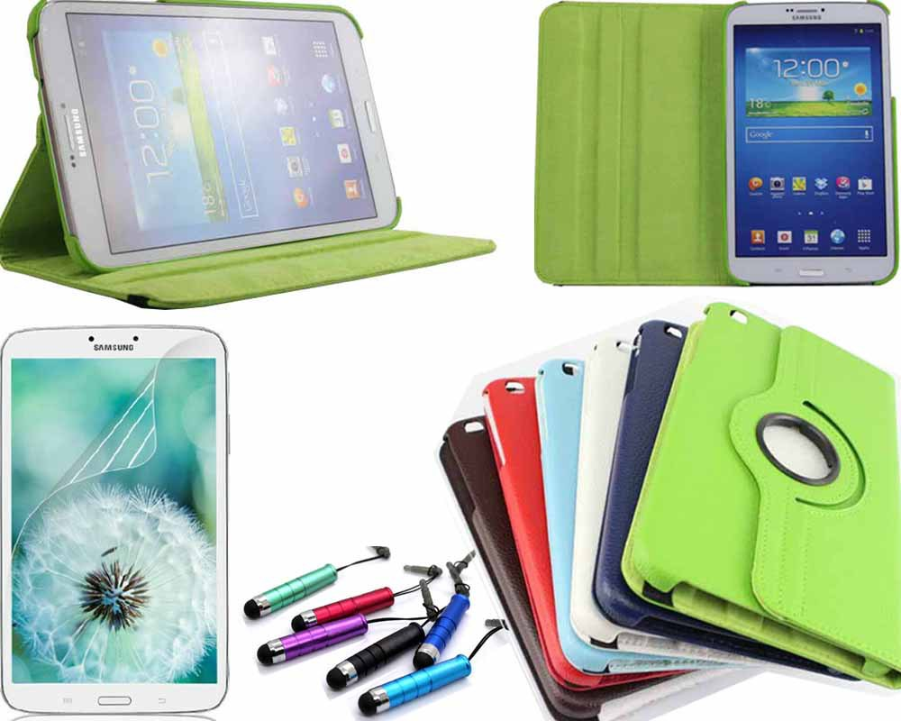 "360 Degree Rotating PU Leather Case Cover For Samsung Galaxy Tab 3 8"" 8 inch 8.0 T310 T311 T315 Tablet & Film & Stylus(China (Mainland))"