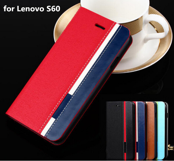 Business & Fashion TOP Quality Stand Flip Leather case For Lenovo S60 S60T Case Mobile Phone Cover Mixed Color(China (Mainland))