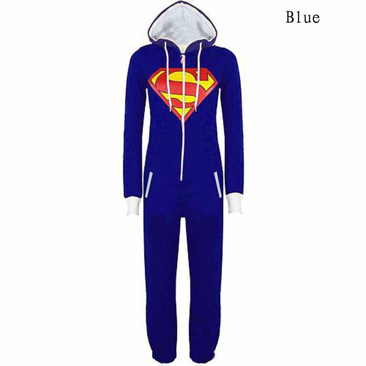 New Unisex Pyjamas Superhero Adult Onesies Mens Women Batman Superman Onesie One Piece Pajamas Sleepwear