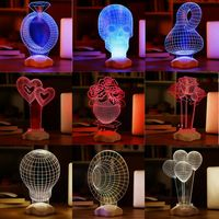 Hot Novelty Optical illusion 3D Luminous Micro USB Led Night Light Desk Table Lamp Various shape Decorative Lamp