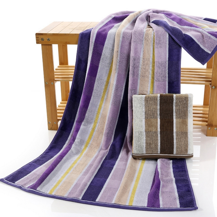 Free shipping fashion 100% cotton cut velvet towels, comfortable soft, delicate edging, colored stripes beach towel(China (Mainland))