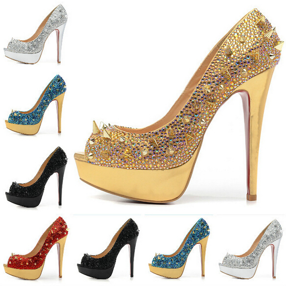Size:35 41 Women's 14cm High Heels Gold Crystal & Mix Spikes Red Bottom Sandals,Ladies ...
