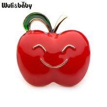 Wuli Bayi Merah Hijau Warna Enamel Apple Bros untuk Wanita dan Pria Paduan Buah-buahan Yang Indah Pesta Perjamuan Bros Hadiah(China)