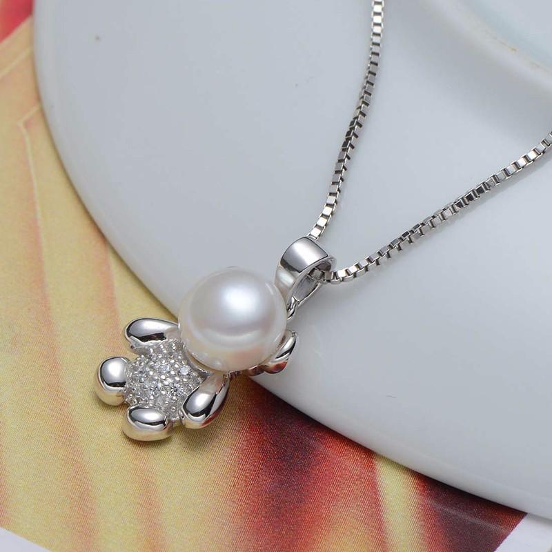 Синя жемчужное ожерелье для женщин стерлингового серебра 925 пробы ожерелье естественный пресноводный жемчуг ювелирные изделия симпатичный медведь дизайн горячей продажи