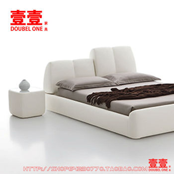 YIYI Bed Room Furniture Modern Double Soft Bed made of Genuine Leather BT1-002