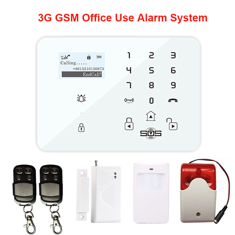 Touch Keypad LCD Display Andriod APP 99 Zones Wireless Home Security GSM Alarm With Door sensor Strobe Siren Burglar System K9A(Hong Kong)
