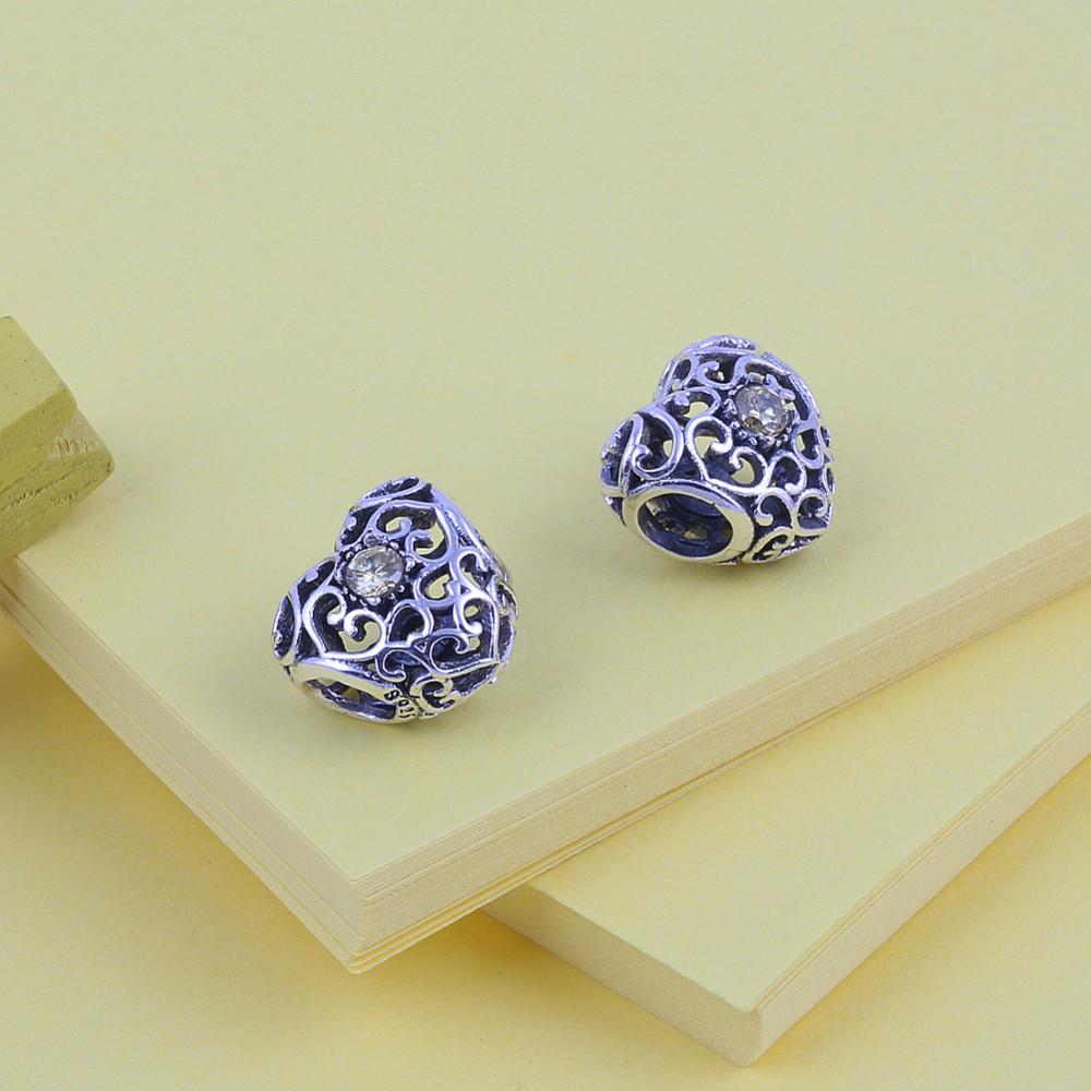 ZMZY November Garnet 925 Sterling Silver Heart Birthstone Charms Beads Fits Pandora Charms Bracelet 12 Month Color Choose